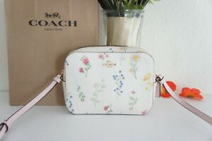 NWT Coach C3355 Mini Camera Bag with Spaced Wildflower Print in Chalk Multi $250