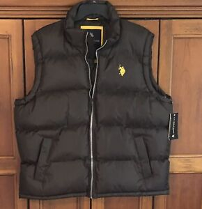 New With Tags U. S. Polo Assn. Men's Puffer Vest Size Large Brown
