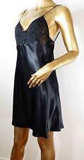 Cinema Etoile Sz M black satin lingerie nightgown chemise lace bust beaded