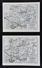 1864 Jomini Napoleon Military 2 Maps - Battle of Wagram - Vienna Austria France