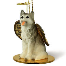 Husky Dog Figurine Angel Statue Gray/White Brown Eyes