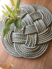 """❌ARETHUSA 25""""ROPE MAT INDOOR OUTDOOR 64x64cm CELTIC KNOT LOBSTER SAILORS NAVY"""