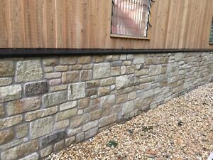 Natural Stone Walling, Tumbled Finish, Random coursed, York stone. OVER 1000m2 !