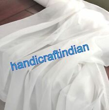 10 Yard Indian Light Weight 100% Cotton Voile Fabric Solid White Plane New Brand