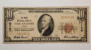 $10 1929  RARE  Groos National Bank ten dollar bill Brown seal low serial 10148