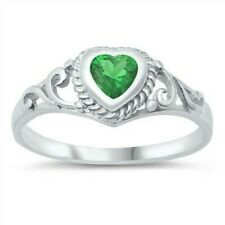 USA Seller Baby Ring Sterling Silver 925 Best Deal Jewelry Emerald CZ Size 2