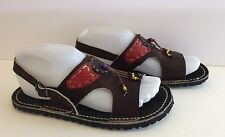Handmade Flat Sandals Slingback Leather Open Toe Dark Brown 5-6