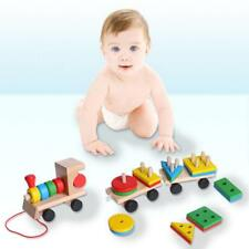 Wooden Train Building Blocks Educational Learning Toys Set For Toddler Kids J