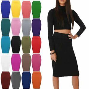 Womens Midi Pencil Skirt Ladies Plus Size Tube Skirt Bodycon style Office Viscse