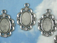 10 Fancy Oval Photo Cameo Bezel Settings Resin Frame Charms Silver Tone #P880