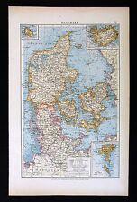1896 Andrees Map - Denmark - Holstein Zeeland Iceland Funen Jutland Copenhagen
