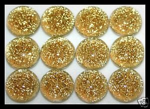 Lot of 6 TWINKLE Rd CHAMPAGNE Fused Glass DICHROIC Cabs NO HOLE Beads Flat Back