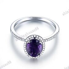 Ring Fine Jewelry 10K White Gold Pave Oval 8X6mm 1.2ct Amethyst Natural Diamonds