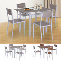 5 PC Extending Drop Leaf Counter Height Dining Set Table & 4 Chairs Kitchen
