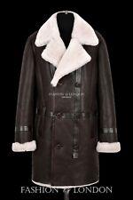 Men's Sheepskin Fur Coat Double Breasted Brown Winter Long Shearling Pea Coat