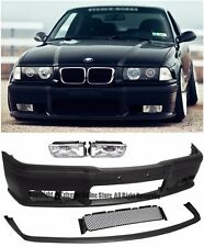 M3 Style Front Bumper Cover Lip W/ Clear Fog Lights For 92-98 BMW E36 3-Series