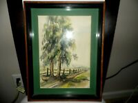 """Vntge Original Watercolor Landscape Painting Country Scene Signed Huff 10"""" x 14"""""""