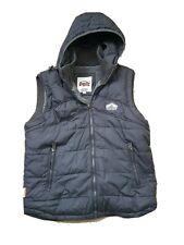 Mens Vintage Superdry Premium Black Label Gillet Jacket Hoodie XL