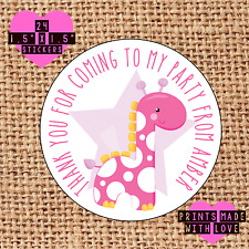 Personalised 24 pink giraffe party bag stickers sweet cone labels 1st pg