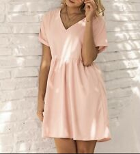 Sommer Hängerchen Kleid Tunika Volant V Ausschnitt 36 38 40 Rosa R253 NEU