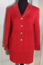 NEW BEEN WORN, TOULA RED KNIT SKIRT SUIT WITH EMBELLISHMENT, SIZE 4, MADE IN USA