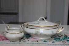 LIMOGES FRANCE L.F. Covered Casserole Bowl & Creamer - Blue Flowers Gold Trim