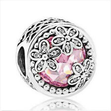 Fashion Flower European Silver CZ Charm Beads for Necklace Bracelet Chain