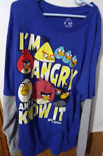 """ANGRY BIRDS XXL(18/20) """"I'M ANGRY & I KNOW IT"""" LONG SLEEVE PULLOVER TOP #52C"""