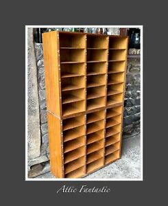 Vintage 1960 GPO Wooden Pigeon Holes Bookcase Storage School Antique Pine Beech