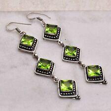 "Peridot  Handmade Drop Dangle Earrings Jewelry 3.28"" AE 55230"