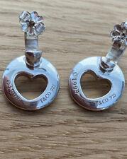 Tiffany & Co Sterling Silver Earrings Solid Hoop Pierced Stencil Heart Drop