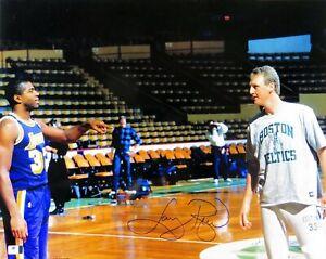 Larry Bird Signed Autographed 16X20 Photo Celtics w/Magic Johnson JSA T48830