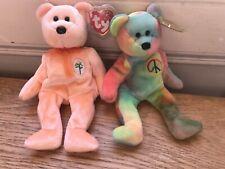 2 TY Beanie Babies Bears Retired DEAREST (Peach) & PEACE (Multi) with tags  VVGC