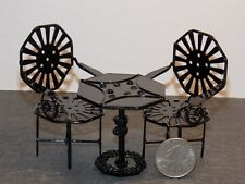 Dollhouse Miniature Patio Table Set Black Metal 1:12 scale D61 Dollys Gallery