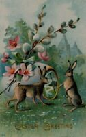 Bunny Rabbits with Pussy Willow Flowers~ Antique~Easter Postcard-p686