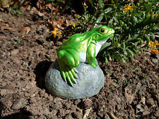New ListingSmall Stone Frog Toad On A Rock Garden Ornament Hand Made U0026 Hand  Painted