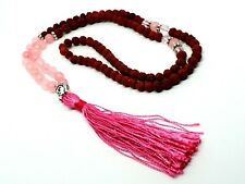 Rose Quartz Rudraksha Buddha Stone Crystal Japa Mala Rosary Bead Meditation Yoga
