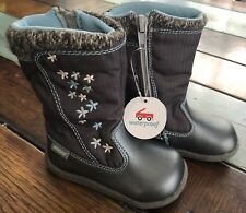 See Kai Run Hallie Waterproof Winter Snow Dark Gray Flower Boots Girls Size 11.5
