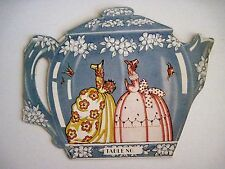 Delightful Vintage Bridge Tally Card In The Shape of A Tea Pot w Cups & Saucers*