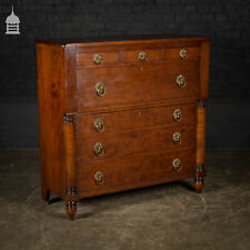 19th C Swedish Fruitwood Chest of Drawers with Column Base and Brass Pulls