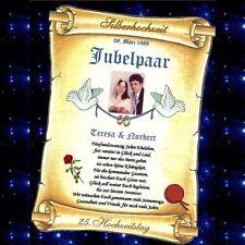 Silberhochzeit - Silberne Hochzeit Urkunde Geschenk 25. Hochzeitstag in Silber