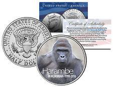 HARAMBE 1999-2016 Cincinnati Zoo Gorilla Colorized 2016 JFK Kennedy Half Dollar
