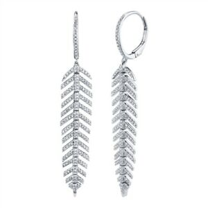 14K White Gold Diamond Feather Earrings Dangle Drop Natural Round Cut Leverback