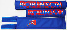 NEW Robinson old school BMX padset pads 1980-83 logo MADE IN USA - BLUE