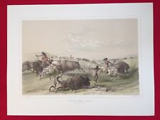 Buffalo Hunt, Chase, By George Catlin, Original Lithograph,Limited Edition 1970