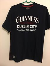 Guinness logo printed graphic short sleeved navy blue cotton t-shirt M/48 Unisex