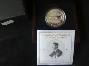 2019 SILVER PROOF GUERNSEY £5 COIN BOX + COA  THE KING'S SPEECH GEORGE V1 1/1939