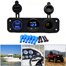 Dual USB Charger 12V Socket Voltmeter 3 Hole Panel Switch Car Boat Blue LED IP44