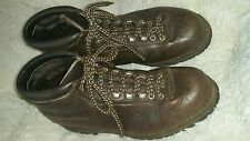 VINTAGE DISTRESSED BROWN LEATHER MADE IN ITALY MOUNTAINEER HIKING BOOTS 10M