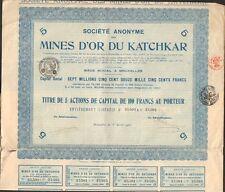 Titre 5 actions: Mines d'OR du KATCHKAR (BELGIQUE ARMÉNIE RUSSIE) (D)